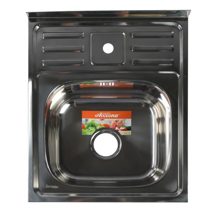 Мойка кухонная Accoona AB6050, накладная, толщина 0.6 мм, 500х600х165 мм, глянец - фото 9217151
