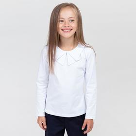 Школьная блузка для девочки, цвет белый, рост 122-128 см