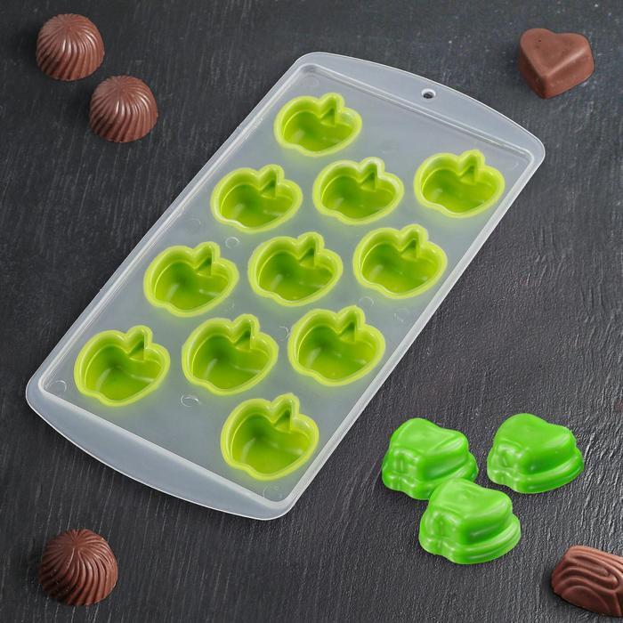 """Форма для льда и шоколада """"Яблоко"""", 11 ячеек, цвета МИКС"""