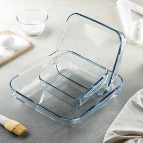 Набор посуды для запекания Borcam, 3 предмета: 1,95 л (22×25,6 см), 3,2 л (28,2×31,7 см), 1,04 л (21×16,5 см)