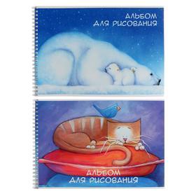 Альбом для рисования А4, 24 листа на гребне Jewel, обложка мелованный картон, ВД-лак, блок 100 г/м2, МИКС