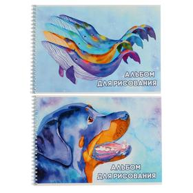 """Альбом для рисования А4, 32 листа на гребне Jewel """"Киты.Собака"""", обложка мелованный картон, блок 100 г/м2, МИКС"""