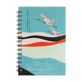 """Скетчбук А5, 60 листов на гребне """"Японский пейзаж"""", твёрдая обложка, матовая ламинация, блок 120 г/м2"""