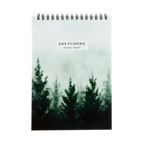 """Скетчпад А5, 30 листов на гребне """"Акварельный лес"""", обложка мелованный картон, глянцевая ламинация, блок 160 г/м2"""