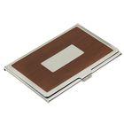 Визитница с металлическим окном, коричневая