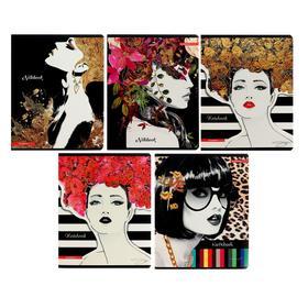 Тетрадь 48 листов в клетку Jodi Pedri Glamuor, обложка мелованный картон, УФ-лак, тиснение фольгой, МИКС