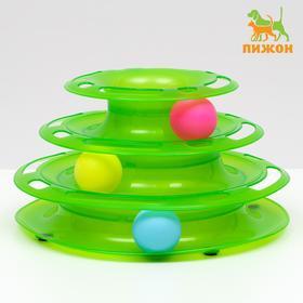 """Игровой комплекс """"Пижон"""" для кошек с 3 шариками, 24,5 х 24,5 х 13 см, зелёный"""