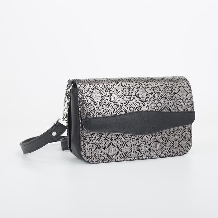Кросс-боди, отдел на клапане, наружный карман, длинный ремень, цвет чёрный/бронзовый - фото 851483