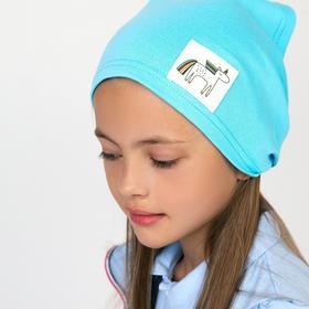 Косынка для девочки, цвет голубой/единорог, размер 46-50