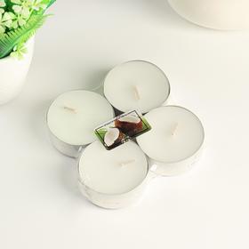 """Набор чайных свечей ароматизированных """"Кокосовый рай"""" 4 шт, макси"""