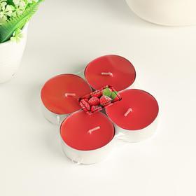 """Набор чайных свечей ароматизированных """"Сладкая малина"""" 4 шт, макси"""