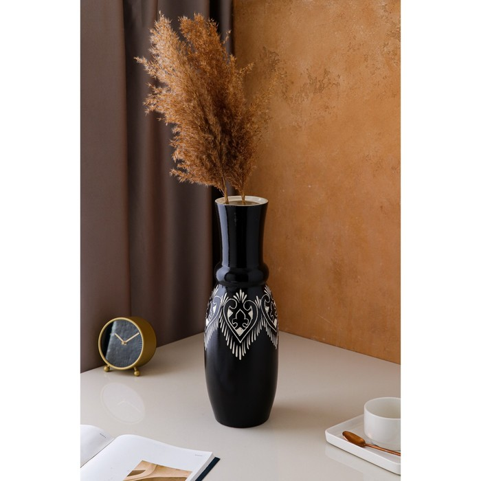 """Ваза настольная """"Илона"""", рельефная резка, чёрная, вид 1, керамика, 41 см - фото 9884407"""