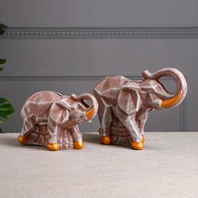 """Набор копилок """"Пара слонов"""", камень, коричневый"""