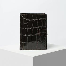 Обложка для автодокументов и паспорта, отдел для купюр, 5 карманов для карт, скат, цвет коричневый