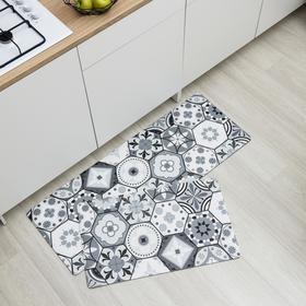 Набор ковриков для ванны и туалета Доляна «Мистери», 2 шт: 45×75, 45×120 см, цвет серый