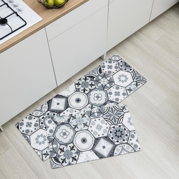 Набор ковриков для ванны и туалета Доляна «Мистери», 2 шт: 45×75, 45×120 см, цвет серый - фото 851983