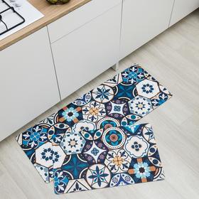 Набор ковриков для ванны и туалета Доляна «Мистери», 2 шт: 45×75, 45×120 см, цвет синий
