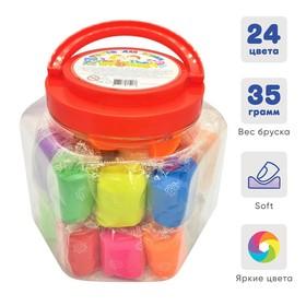 """Тесто для лепки 24 цвета, 840 г, """"Игротека"""" в пластиковом ведре + 6 штампов"""
