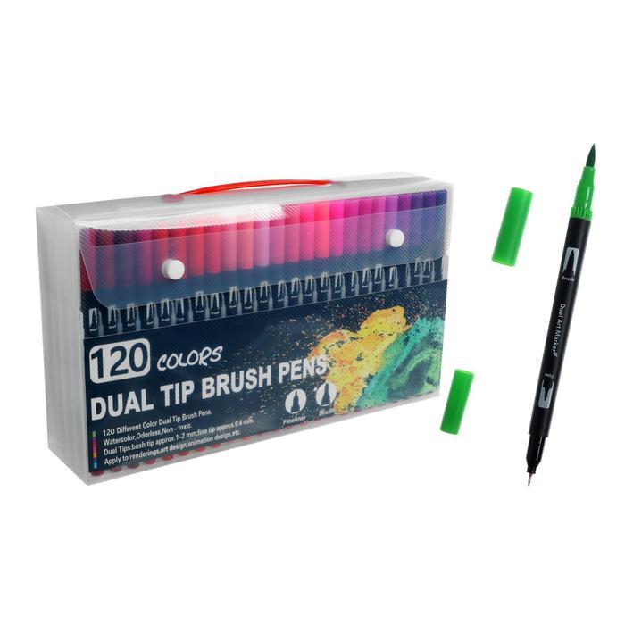 Набор маркеров профессиональных двусторонних 120 штук/120 цветов - фото 852288