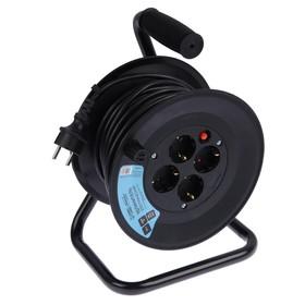 Удлинитель на катушке Luazon Lighting,4 розетки,25 м,16 А,ПВС 3х2.5 мм2,без з/к,IP44, ГОСТ