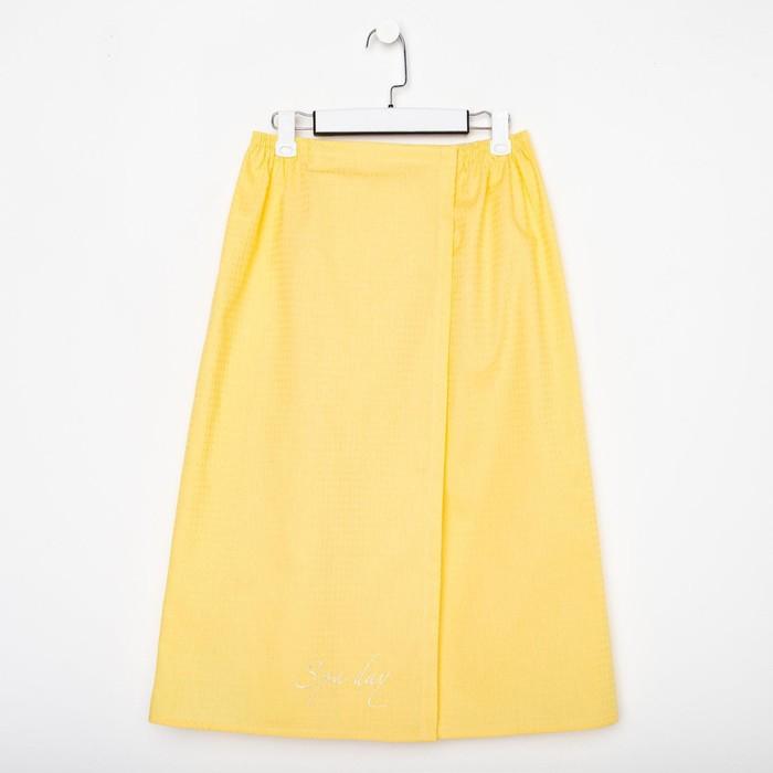 Полотенце для бани Spa day жёлтый, женское парео,75х150±4 см, 100% хл.,ваф.полотно,160 гр/м2