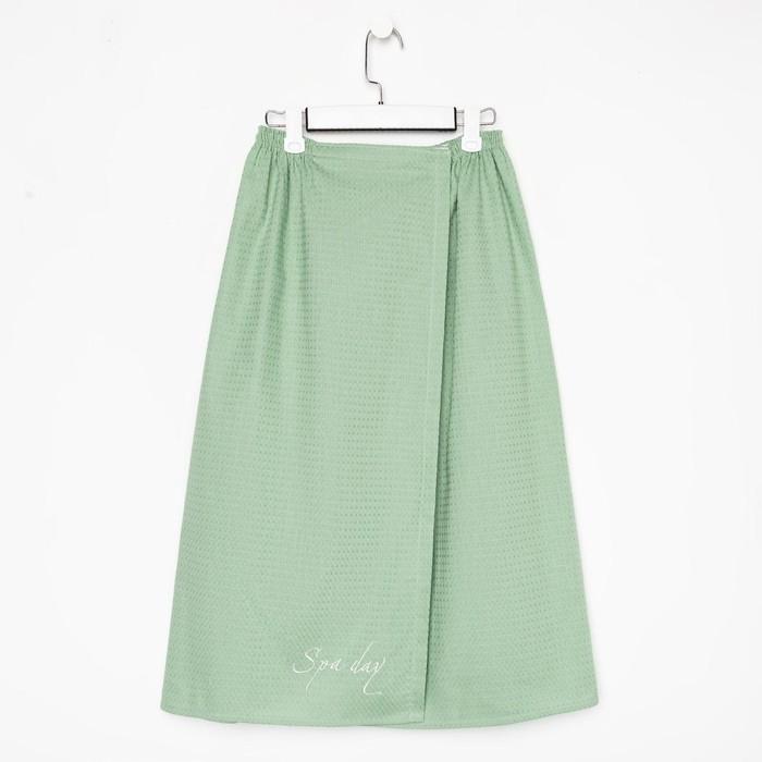 Полотенце для бани Spa day мятный, женское парео,75х150±4 см, 100% хл.,ваф.полотно,160 гр/м2