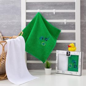 "Набор полотенец Этелька ""Динозаврик"" 30 *60 см -2 шт, зелен/беж, 100%хл, 360 гр/м2"