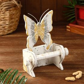 """Держатель для туалетной бумаги """"Бабочка белая"""" дерево 18х10х25"""