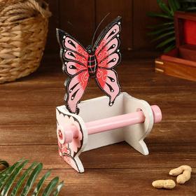 "Держатель для туалетной бумаги ""Бабочка розовая"" дерево 18х10х25"