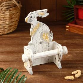 """Держатель для туалетной бумаги """"Кролик белый"""" дерево 18х10х25"""