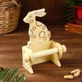 """Держатель для туалетной бумаги """"Кролик кремовый"""" дерево 18х10х25"""