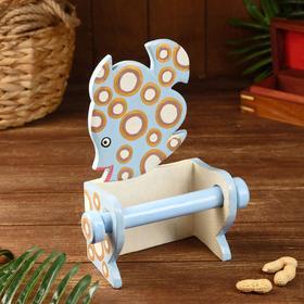 """Держатель для туалетной бумаги """"Рыбка голубая"""" дерево 18х10х25"""