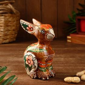 "Сувенир ""Кролик"" расписной, дерево 10х7х15 см"