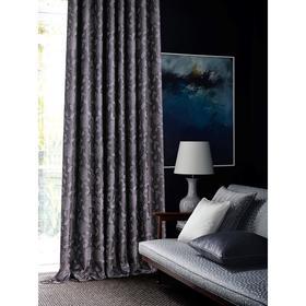 Штора портьерная Листья 200х270 см, серый, пэ 100%