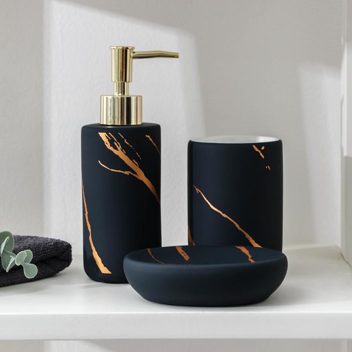 Набор аксессуаров для ванной комнаты Доляна «Зевс», 3 предмета (мыльница, дозатор для мыла, стакан), цвет синий - фото 1002461