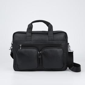 Сумка деловая, отдел на молнии, 4 наружных кармана, длинная стропа, цвет чёрный