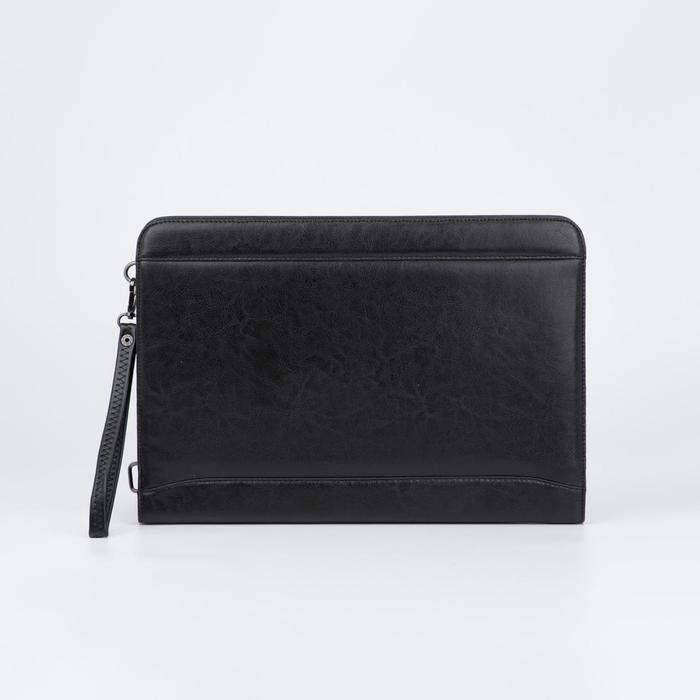 Папка деловая, 2 отдела на молниях, наружный карман, ручка, цвет чёрный - фото 854287