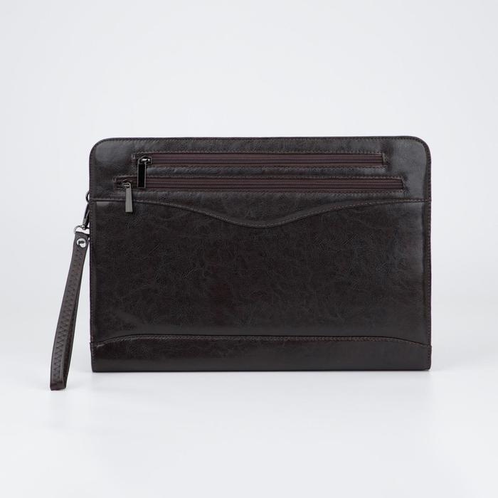 Папка деловая, 2 отдела на молниях, 3 наружных кармана, ручка, цвет коричневый - фото 854302