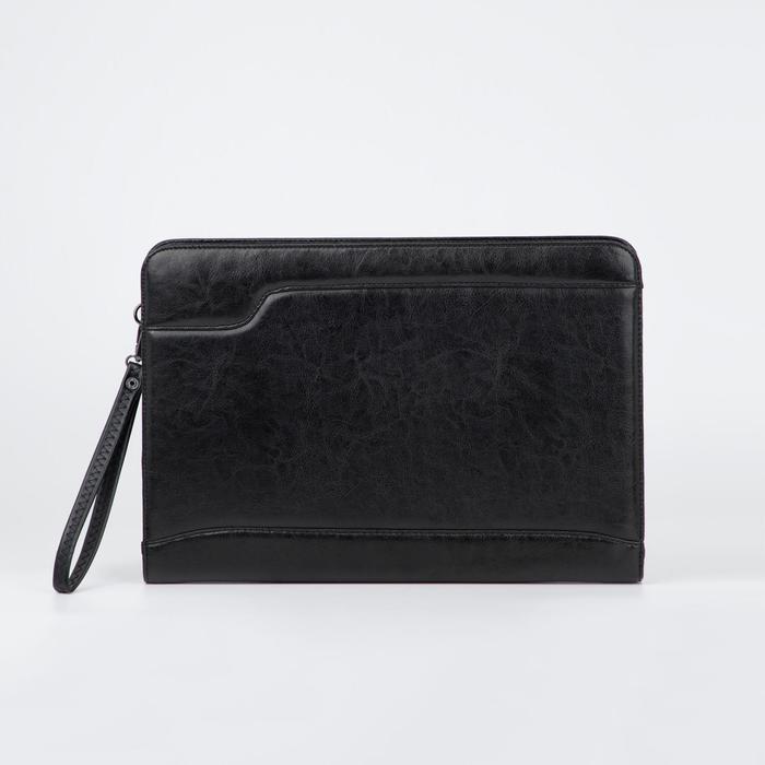 Папка деловая, 2 отдела на молниях, наружный карман, ручка, цвет чёрный - фото 854305