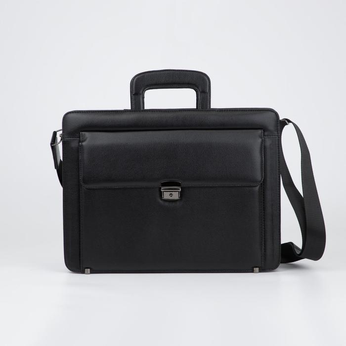 Портфель-папка, 5 отделов на молнии, 3 наружных кармана, длинная стропа, цвет чёрный - фото 854311