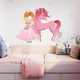 """Наклейка пластик интерьерная цветная """"Принцесса и розовый единорог"""" 35х60 см"""