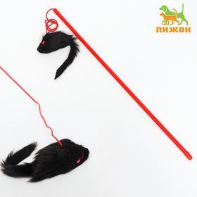 Дразнилка-удочка с черной мышью, палочка микс цветов