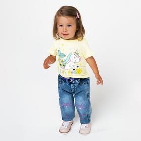 Джинсы для девочки, цвет синий, рост 74 см