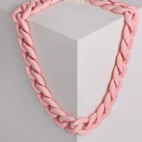 """Колье """"Цепь"""" плоские звенья, цвет светло-розовый ,48см"""
