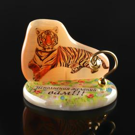 """Сувенир """"Тигр"""" с колокольчиком на подставке""""Исполнения желаний вам!"""", селенит"""