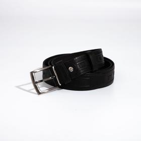 Ремень мужской, ширина 3,5 см, винт, пряжка металл, цвет чёрный