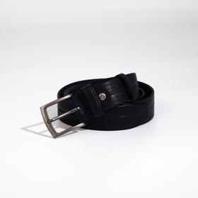 Ремень мужской, ширина 3,5 см, винт, пряжка металл, цвет синий