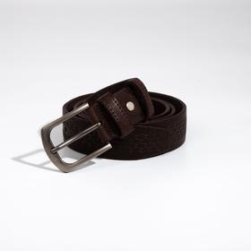 Ремень мужской, ширина 3,5 см, винт, пряжка металл, цвет коричневый