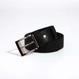 Ремень мужской, ширина 4 см, винт, пряжка металл, цвет чёрный