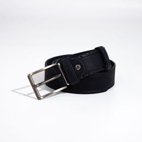 Ремень мужской, ширина 4 см, винт, пряжка металл, цвет синий